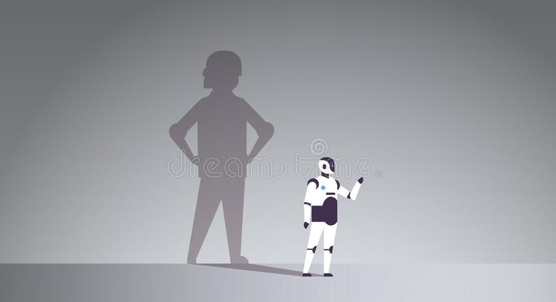 Modern robot with shadow of human artificial intelligence technology progress aspiration concept male cartoon character royalty free illustration
