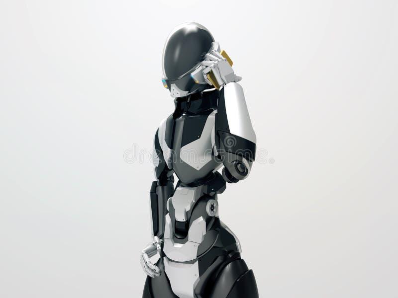 Modern robot som gör en cyborg för ett felanmälan som 3d kallar mobiltelefonen arkivfoto