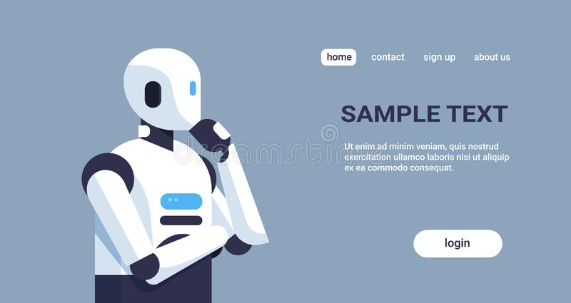 Modern robot thinking humanoid holding hand chin pondering artificial intelligence digital technology concept cartoon vector illustration