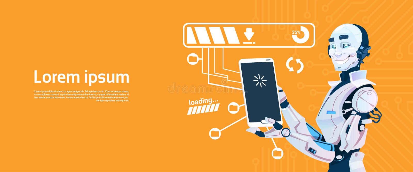 Modern Robot Using Cell Smart Phone, Futuristic Artificial Intelligence Mechanism Technology. Flat Vector Illustration vector illustration