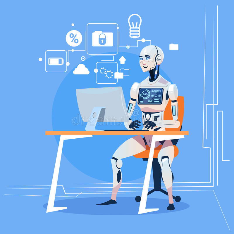 Modern Robot Working With Computer Fixing Errors Futuristic Artificial Intelligence Technology Concept vector illustration