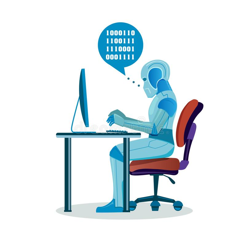 Modern Robot Working With Computer stock illustration