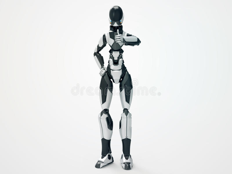 Modern robotcyborg uppskattar/3d som arkivbilder