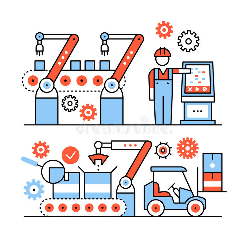 Modern robotic and manual manufacturing assembly. Lines. Packaging and loading with forklifts. Thin line art icons set. Flat style illustrations isolated on vector illustration