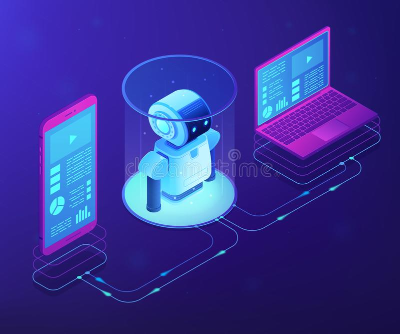 WiFi controlled robotics concept vector isometric illustration. Modern robotics system connected with mobile phone and laptop. WiFi controlled robotics stock illustration