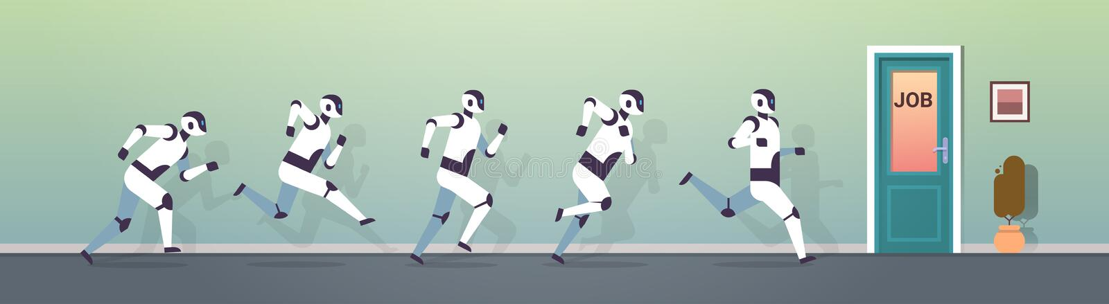 Modern robots group running to job door artificial intelligence technology competition concept flat horizontal vector illustration