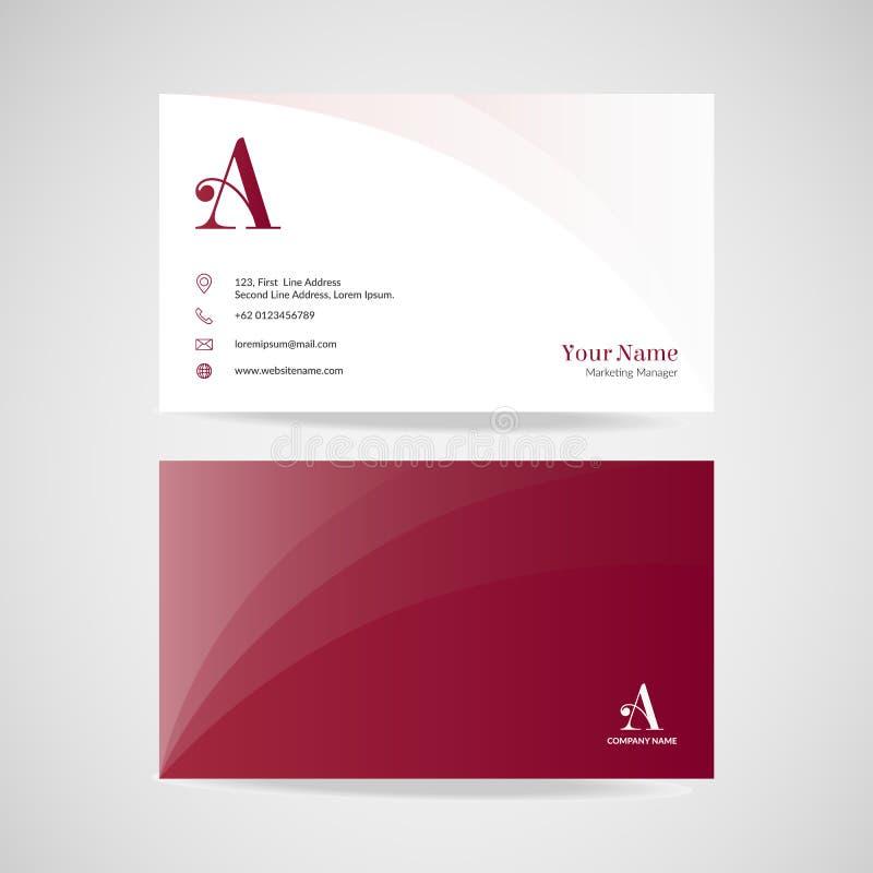 Modern rood adreskaartjemalplaatje, eenvoudige het ontwerp vectorillustratie van de naamkaart vector illustratie