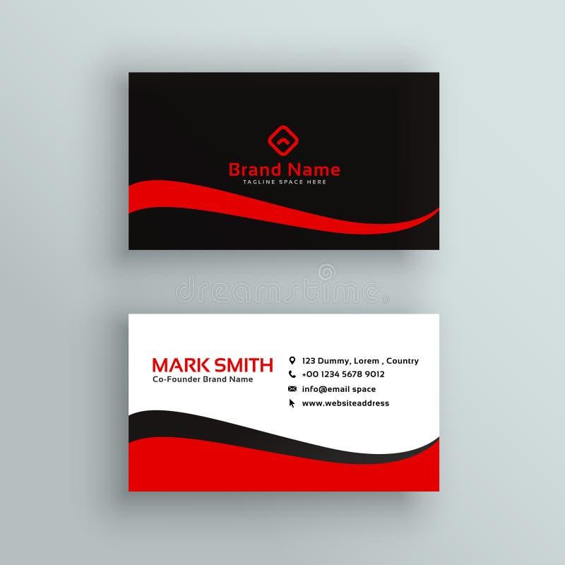 Modern rood en zwart adreskaartjeontwerp vector illustratie