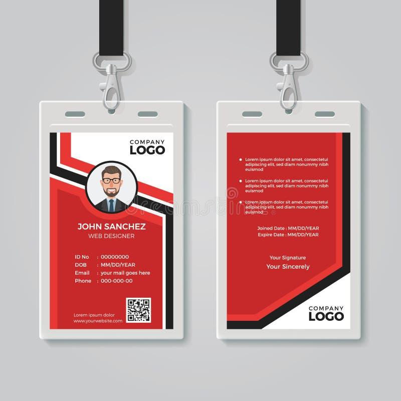 Modern Rood Identiteitskaartmalplaatje stock illustratie