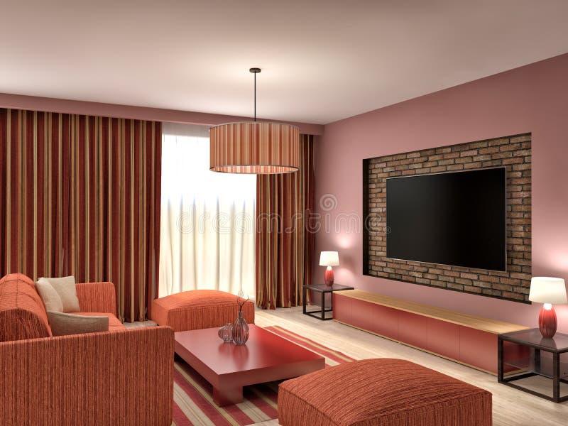Modern rood woonkamer binnenlands ontwerp 3d illustratie for Ontwerp 3d