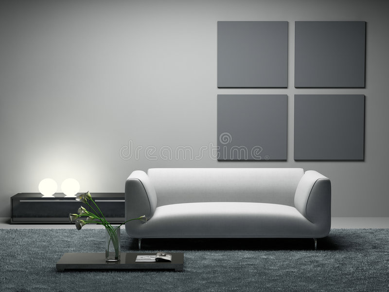Modern room. 3D rendering. Photo in magazine was made by me, I uploaded model's release