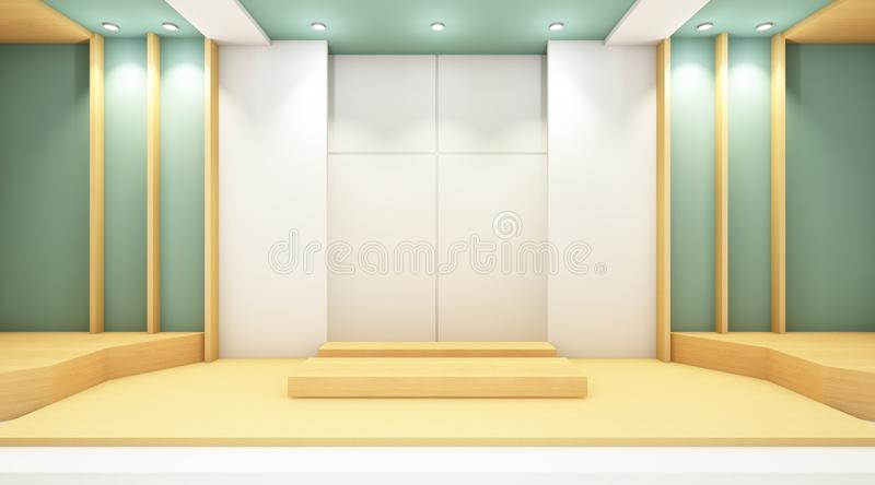 Modern Room Contemporary and wall minimal style. /guest rooms and minimal style stock illustration