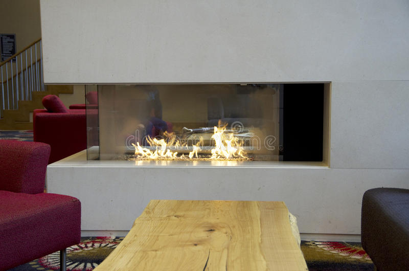 Modern room fireplace stock image
