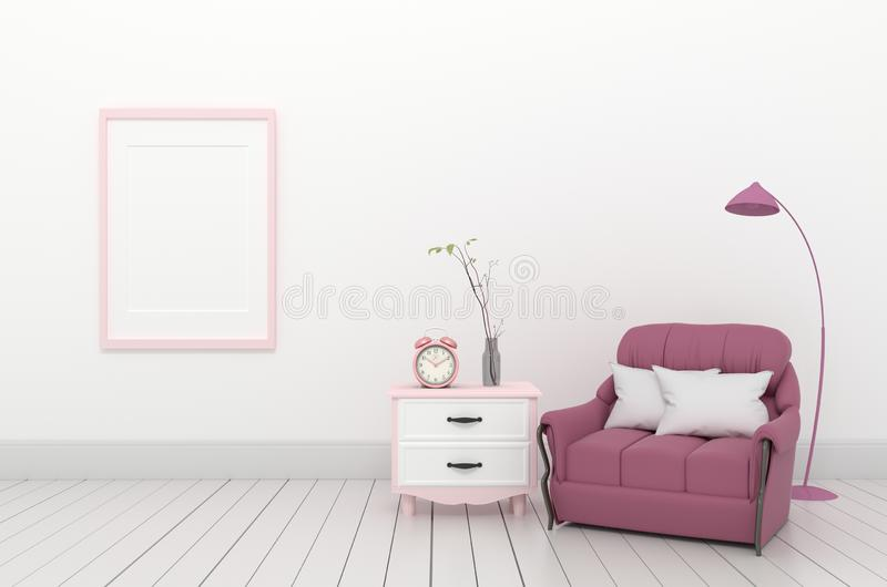 Modern room have pink sofa in open space with cabinet ,3D rendering. Mock up Modern room have pink sofa in open space with cabinet ,3D rendering stock illustration