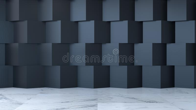 Modern room interior design concept ,empty room, marble floor and black square wall ,3d render royalty free illustration
