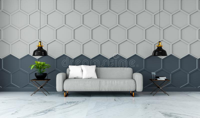 Modern room interior design,gray fabric sofa on marble flooring and gray with black Hexagon Mesh wall /3d render stock illustration