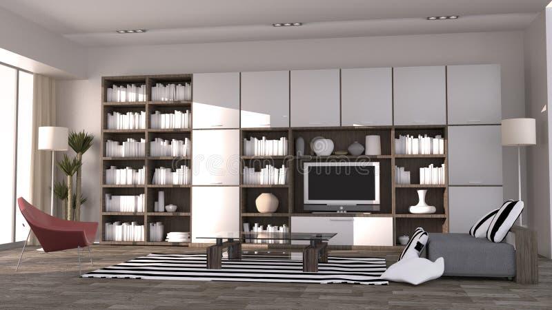 Modern room Scandinavian style. 3D rendering. Mock up Modern room Scandinavian style. 3D rendering stock illustration