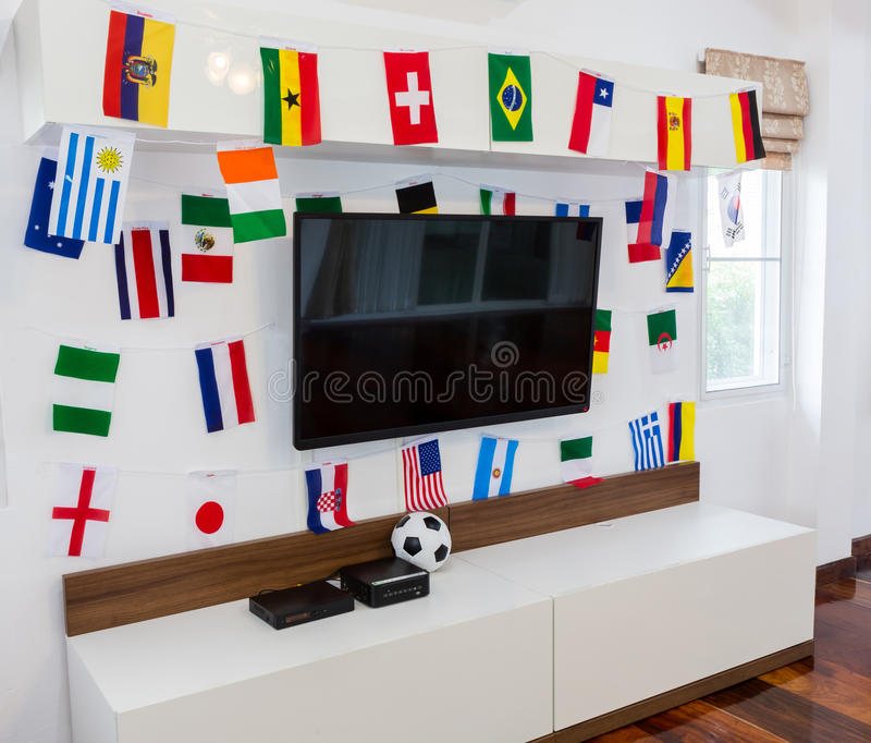 Download Modern Room With TV And Flags. Stock Photo - Image: 42146182