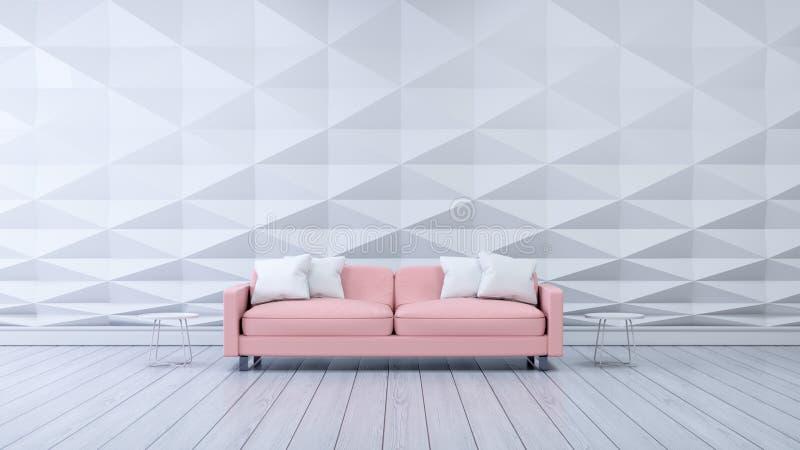 Modern room ,white polygonal wall and pink sofa ,interior design. 3d render vector illustration