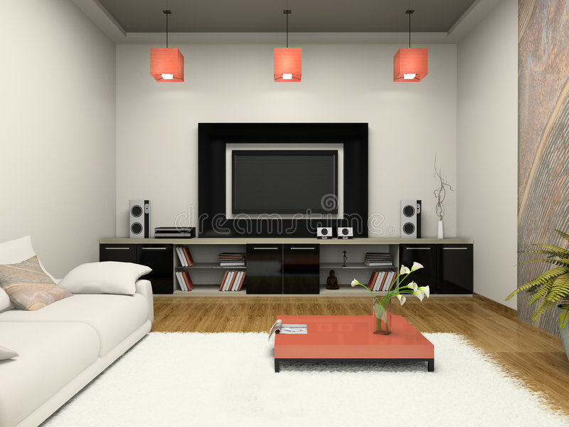 Modern room witn home theater royalty free stock photography