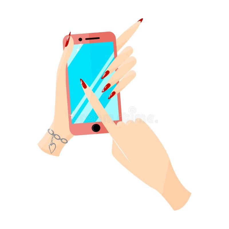 Modern rosa smartphonetelefon i kvinnliga händer stock illustrationer