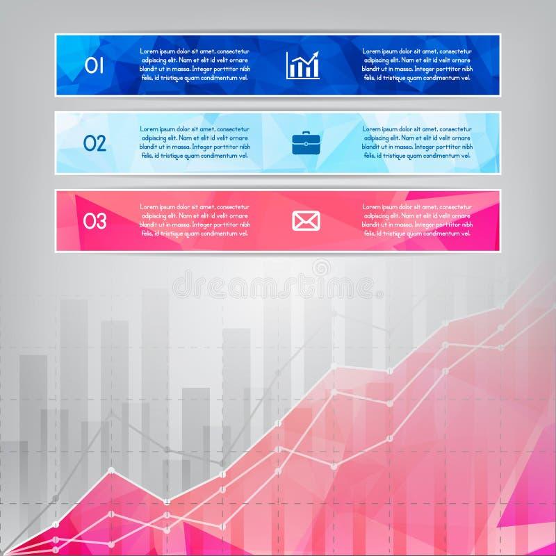 Modern rosa triangulär stilaffär Infographics med abstrakt begrepp stock illustrationer