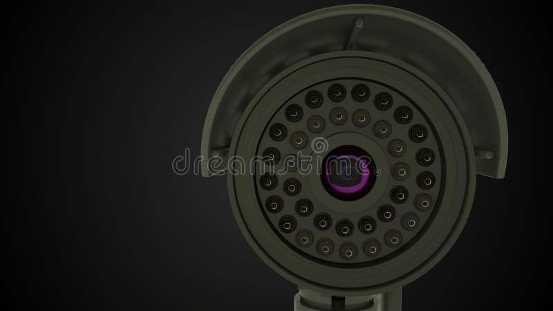 Modern rotating CCTV security camera, 3D rendering background stock illustration