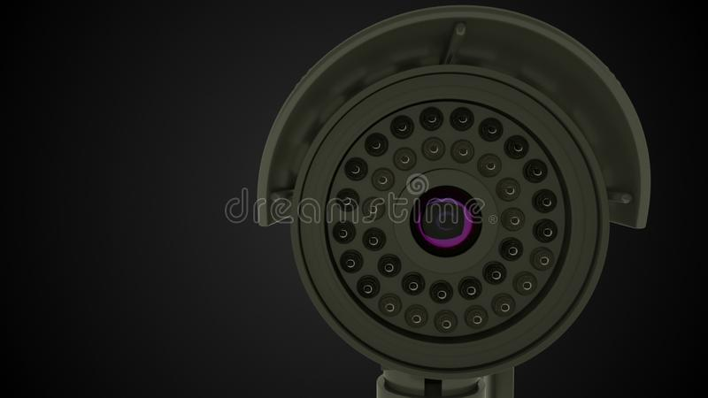 Modern roterande CCTV-säkerhetskamera, bakgrund för tolkning 3D stock illustrationer