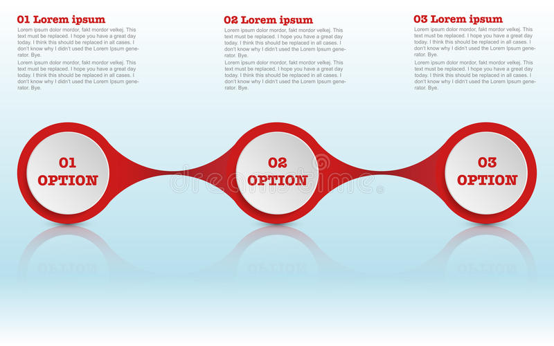 Modern roudned three steps infographics, circle infographic royalty free illustration
