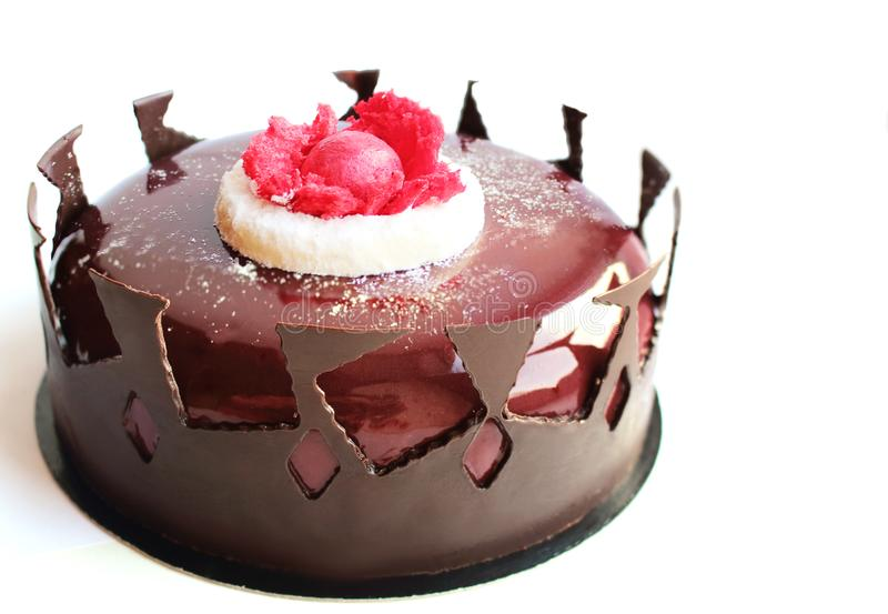 Modern round Black Forest cake with chocolate border royalty free stock photography