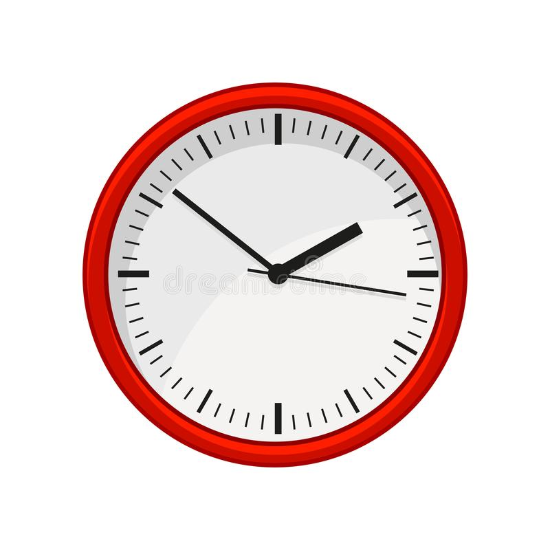 Modern round office wall clock in red color. Time management. Flat vector element for web site, mobile app or flyer of vector illustration