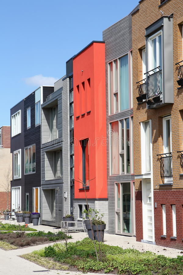 Modern row of unique Dutch homes in Leiden royalty free stock image