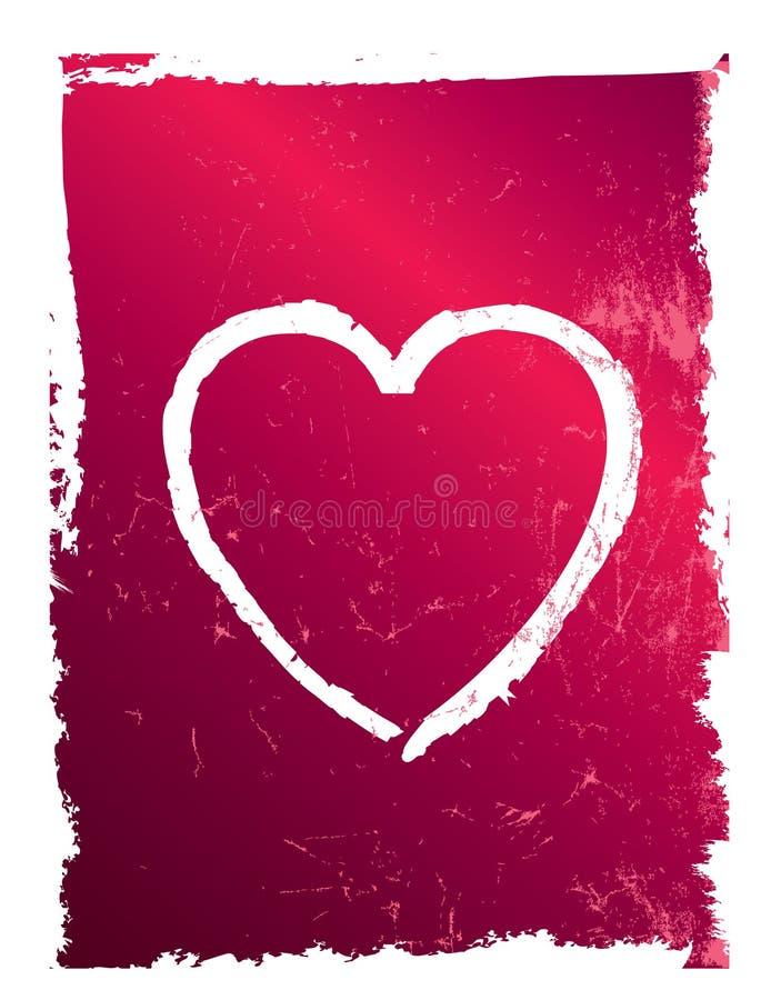 Modern roze en rood grungehart, vector vector illustratie
