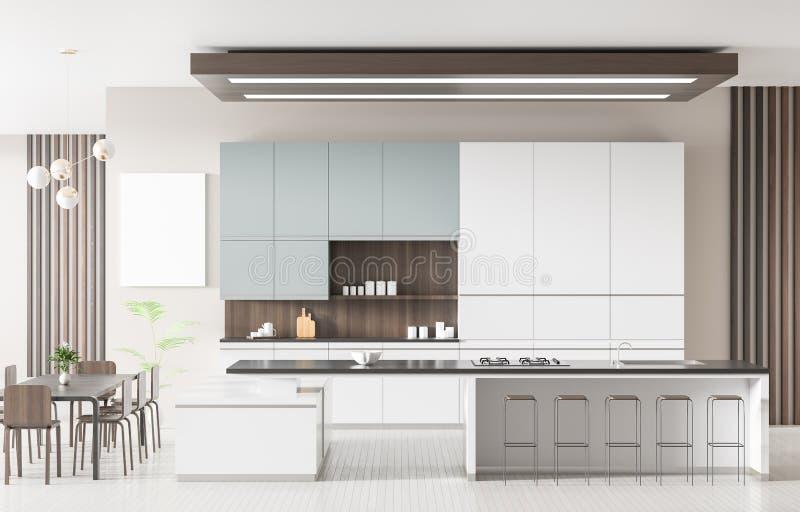 Modern ruim keukenbinnenland met eiland Het Concept van het keukenontwerp 3D Illustratie vector illustratie