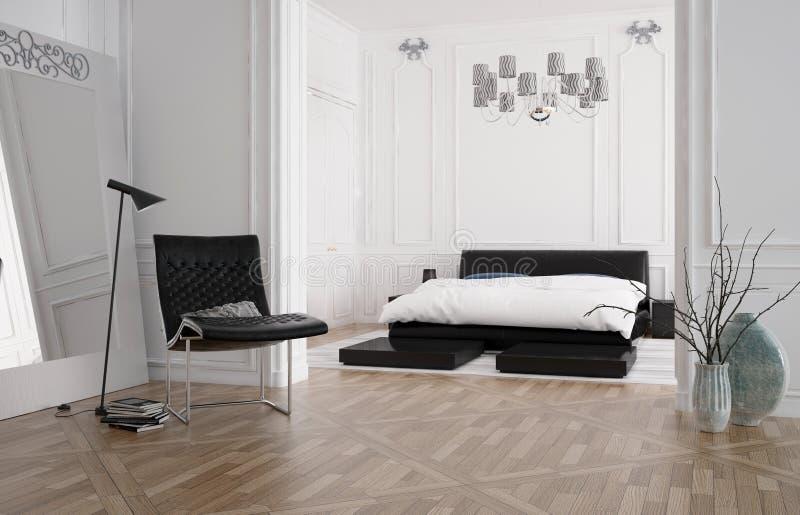 Modern ruim slaapkamerbinnenland met in een nis gezet bed stock illustratie
