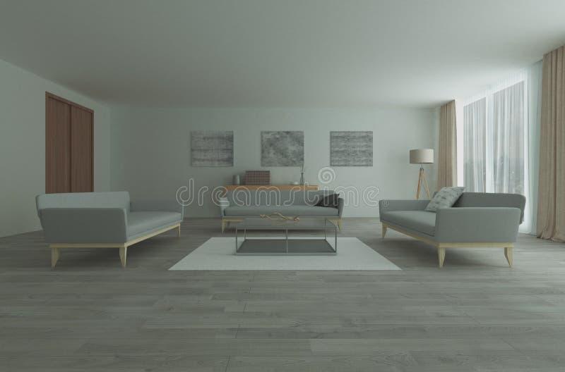 Modern ruim zitkamer of woonkamerbinnenland stock foto's