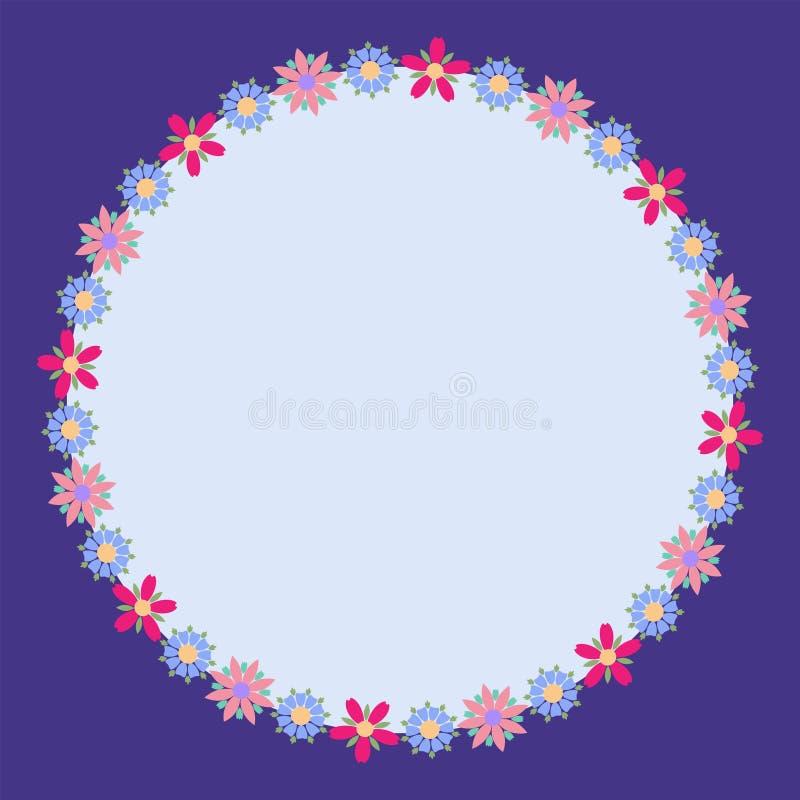 Modern rund blom- ram med färgrika härliga blommor stock illustrationer
