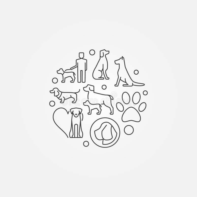 Modern rund illustration med hundsymboler stock illustrationer