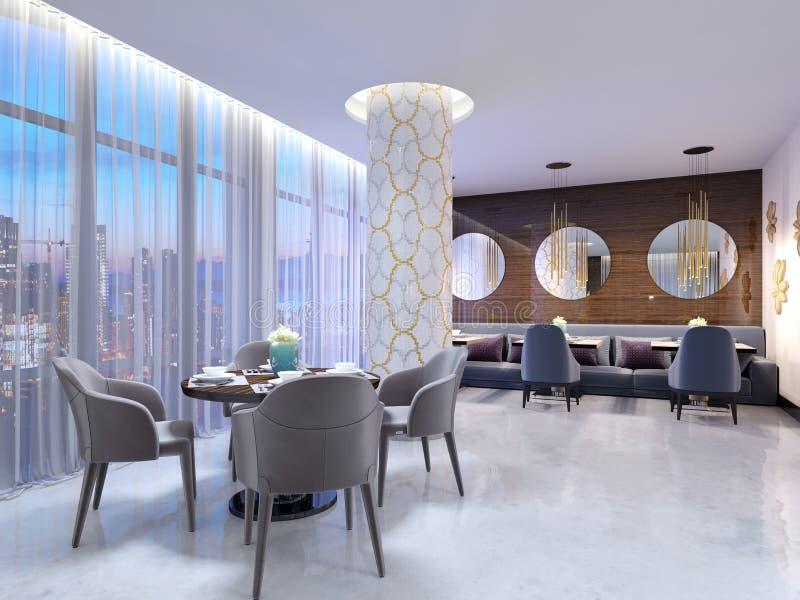 Modern rund tabell i hotellrestaurangen, för fyra personer, med läderstolar och en tjänad som trätabell En tabell nära ett stort royaltyfri illustrationer