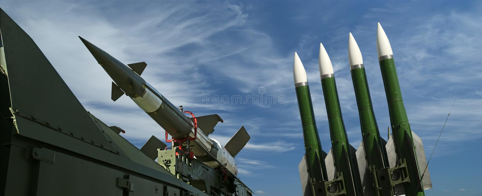 Modern Russian anti-aircraft missiles royalty free stock photo