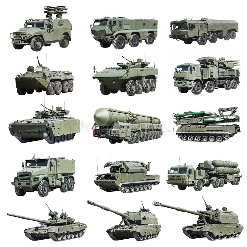 Modern Russian armored military vehicle tracked and wheeled. Isolated on a white background. Set photos royalty free stock photos