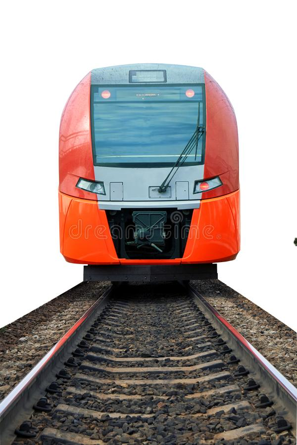 Modern electric train on the rails isolated on white. Modern russian electric train standing on the rails isolated on white background stock photos