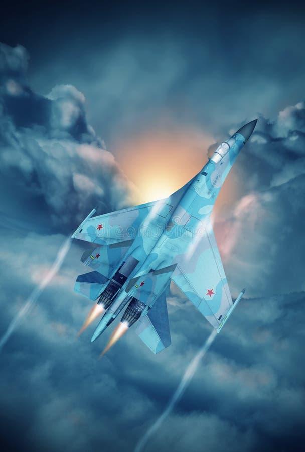 Modern Russian fighter plane vector illustration