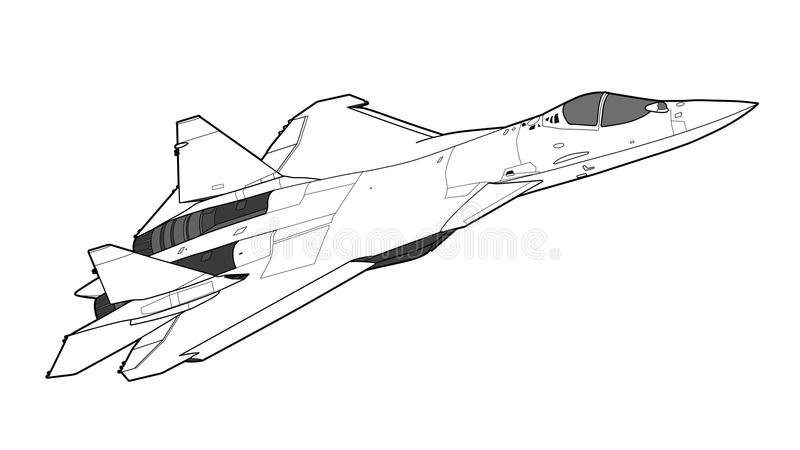 Modern Russian jet fighter aircraft. royalty free illustration