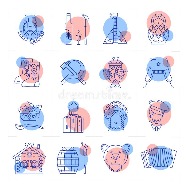 Modern Russian line icons, Traveling in Russia in ultra-trendy style. Vector stock illustration