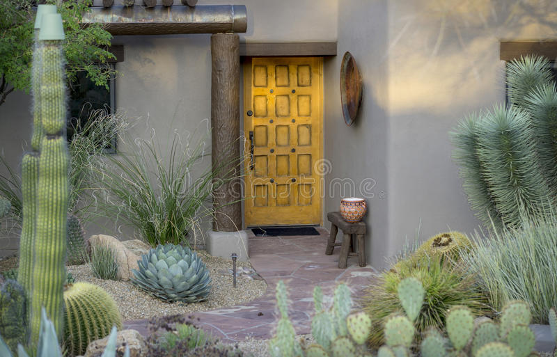 Modern rustic desert style curb side appeal. Example of Modern rustic desert style curb side appeal royalty free stock photos