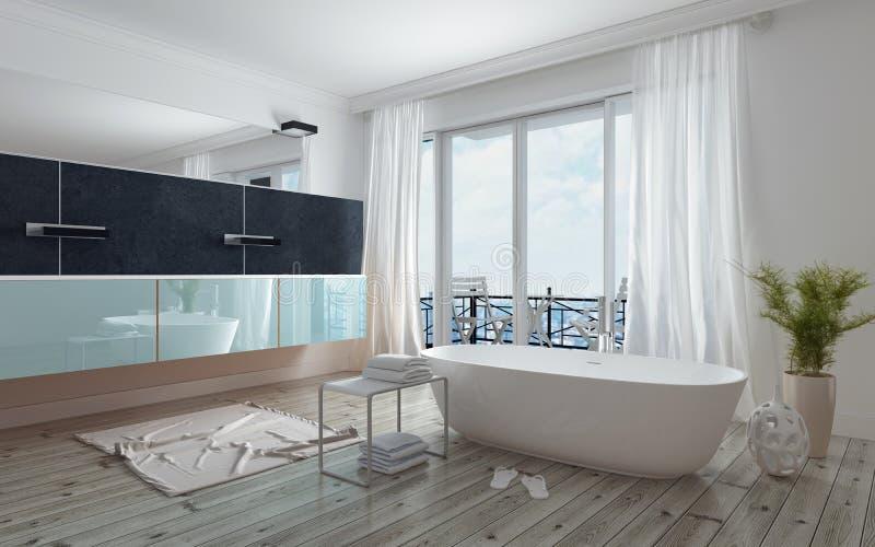Modern rymlig vit badruminre royaltyfri bild
