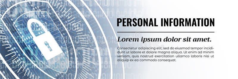 Modern säkerhetsbakgrund för personlig information vektor Reng?ringsdukbanermall stock illustrationer