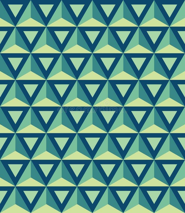 Modern sömlös färgrik geometrimodell för vektor, trianglar 3D stock illustrationer