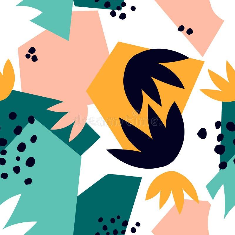 Modern sömlös modell med abstrakta geometriska former och blom- sidor royaltyfri illustrationer